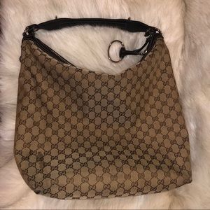 GUCCI Large Monogram Canvas Hobo Bag
